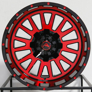 4 New 20 American Off Road A105 Wheels 20x12 5x114 3 44 Black Machined Red Rim