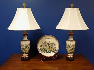 4 Pc 27 Chinese Porcelain Vase Lamps Plate Mountain Scene Asian Oriental