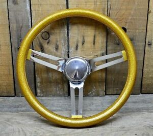 Vtg Style 13 Gold Metalflake Steering Wheel Rat Hot Rod Custom Bomb Lowrider S