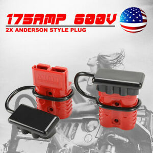 2 Pcs 175a 600v Battery Quick Connect W Dust Cover Charger Power Sb175 Red