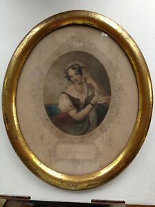 Antique Victorian Print Of Woman In A Gold Frame