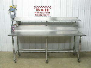 90 Stainless Steel Heavy Duty Roll Under Work Prep Table W Over Shelf 7 6