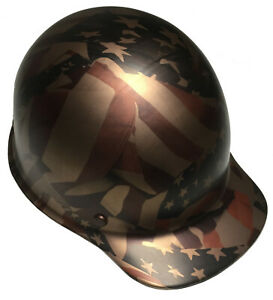 Hydro Dipped Hard Hat Msa Skullgard Cap Copper Metallic American Flags Satin
