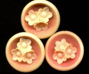 Set Of 3 Vintage Celluloid Buttons Peachy Pink Muti Component Flowers