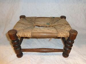 Antique Pennsylvania Wood Foot Stool Weaved Seat Turned Legs Primitive