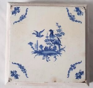 Antique Delft Faience Pos French Blue And White Wild Game Grouse Pheasant