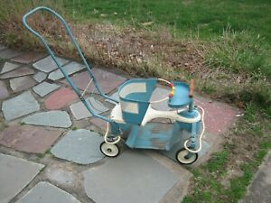 Vintage 1950s Taylor Tot Blue White Metal Wood Baby Stroller Walker All Original
