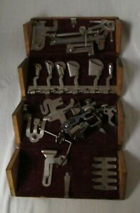 Antique Singer Wood Puzzle Box Treadle Sewing Machine Attachments Accessories