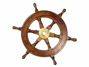 Boat Ship Vintage Steering Wheel Brass Nautical Pirate Decoration Wood Decor 15