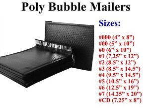 Poly Bubble Mailers Padded Envelope 000 00 0 Cd 1 2 3 4 5 6 7 Black All Sizes