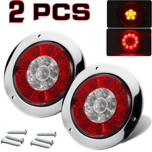 2x 4inch Round Red Amber 16 Led Truck Trailer Brake Stop Turn Signal Tail Lights