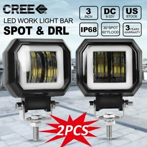 Pair 3 Square 40w Blue Angel Eyes Led Work Lights Fog Headlights For Motorcycle
