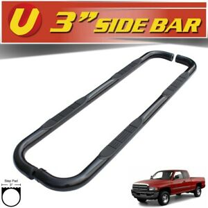 Fits 1998 2001 Dodge Ram 1500 Quad Cab Black 3 Round Side Steps Nerf Bars