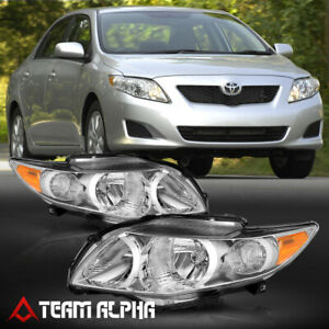 Fits 2009 2010 Toyota Corolla chrome clear amber Corner Headlight Headlamp Lamp
