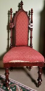 Antique Victorian Carved Mahogany Gothic Revival Hall Slipper Side Chair