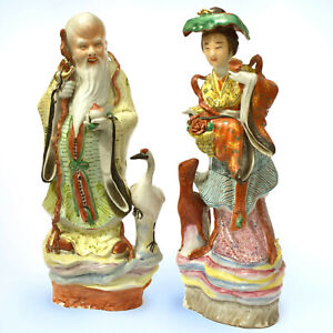 14 5 Chinese Antique Famille Rose Porcelain Figurines Shoulao And He Xiangu