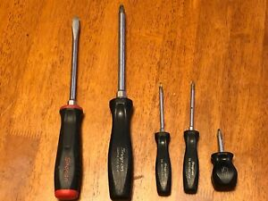 Lot Of 5 Snap On Screwdrivers Good Used Condition