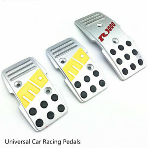 3pcs Momo Style Universal Car Racing Pedals Silver Non Slip Brake Pad Covers