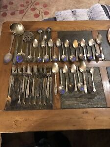Large Lot Of 53 Silverplate Possibly Some Silver Vintage Flatware Silverware