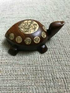 Vintage Signed Chinese Wood With Carved Inlay Feng Shui Tortoise Shaped Compass