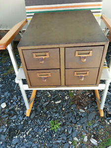 Vintage Library Bureau Solemakers Library Card Cabin 4 Drawer Industrial