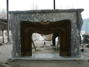 Large Hand Carved Marble French Style Fireplace Mantel With Bronze Fpm250