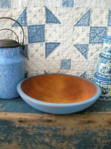 Small Antique Wood Munising Dough Bowl French Blue Milk Paint Free Shipping