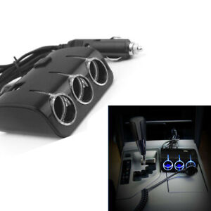 3 Way Car Cigarette Lighter Socket Splitter Dual Usb Charger Adapter Dc 12v 24v