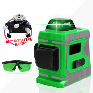 12 Line 3d Laser Level Green 360 Self leveling Indoor Outdoor Measuring Tool