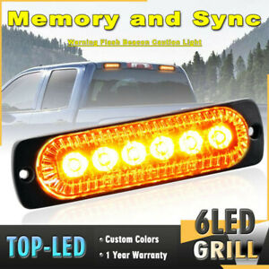6 Led Grill Emergency Warning Synchronize Flash Strobe Light Bar Amber Y Us Fast