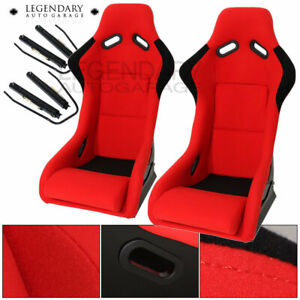 Pair Bucket Racing Drift Automotive Car Seats Spg Profi Style Red Black Cloth