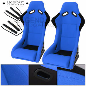 Pair Bucket Racing Drift Automotive Car Seats Spg Profi Style Blue Black Cloth