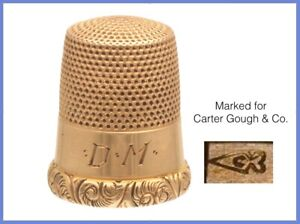 Fabulous Antique 14k Gold Thimble Carter Gough C 1880s