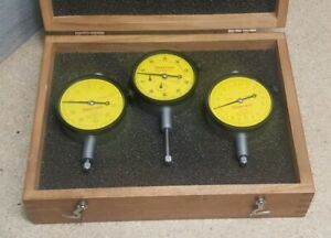 Starrett No 253 Metric Dial Indicator Set With Beautiful Wooden Case
