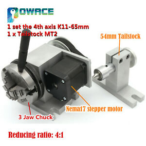 The 4th Rotary Axis K01 63mm 3 Jaw Chuck mt2 Tailstock For Cnc Engraving Router