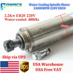 2 2kw Water Cooling Spindle Motor Er20 24000rpm 220v For Cnc Milling Router usa