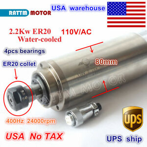 us Stock 2 2kw Er20 Water Cooled Spindle Motor 24000rpm 110v Cnc Engraving Mill