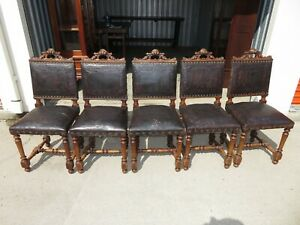Set Of 5 Antique French Renaissance Carved Walnut Embossed Leather Chairs