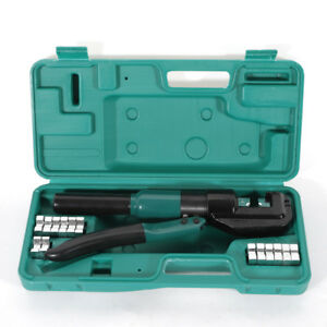 10ton Hydraulic Wire Cable Lug Terminal Crimper Crimping Tool With 8 Dies Us