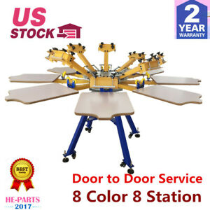 Us Silk Screen Printing Machine Press 8 Color 8 Station T shirt Printer Carousel