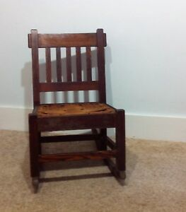 Antique Arts Crafts Mission Vintage Sewing Rocker Rocking Chair