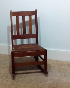 Vintage Arts Crafts Oak Mission Sewing Rocker Rocking Chair