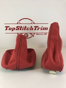 Fits 92 98 Bmw E36 3 Series Red Suede Shift Boot And Brake Boot M3
