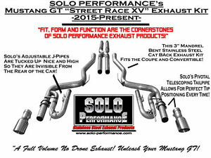 Ford Mustang Gt 5 0l Street Race Dual 3 Exhaust Solo Performance 15 16 17