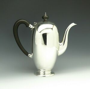 Vtg Tuttle Mid Century Modern Sterling Silver Ebony Modernist Coffee Tea Pot