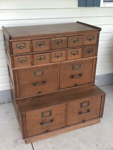 Yawman Erbe Tiger Oak Stacking File Cabinet And Card Catalog Wow Will Ship