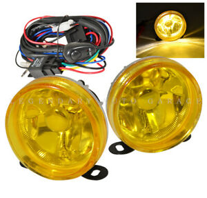 Universal 3000k Yellow Lens Front 3 5 Fog Light Assembly Kit Harness Switch