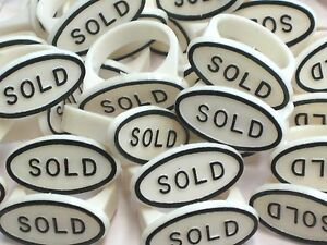 Ring Jewelry Display Sold Sign Ring Tag Insert Lot Of 20 White Black
