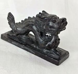 Vintage Small Chinese Black Stone Hand Carved Dragon Paperweight