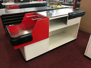 Commercial Retail Check out Counter 2 Pc Black red white silver Metal Counter